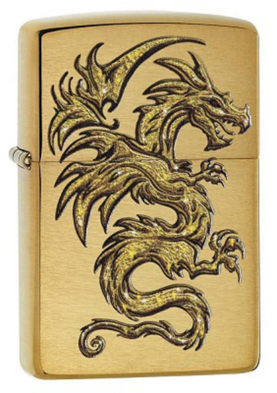 Zippo Dragon Design Brushed Brass Lighter - 29725