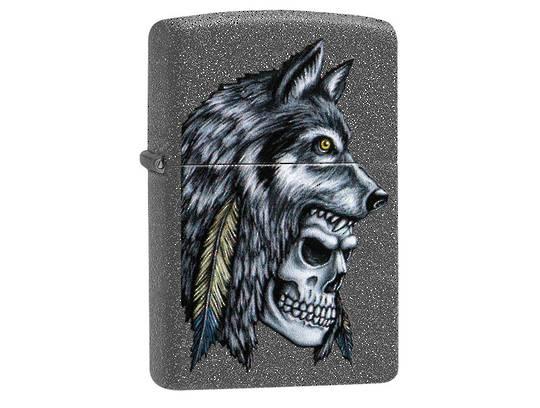 Zippo Wolf Skull Feather Design