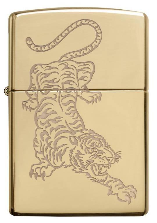 Zippo Tiger High Polish Brass Lighter