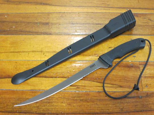 CRKT Kommer Big Eddy II Fillet Knife Satin Combo Blade, With Sheath