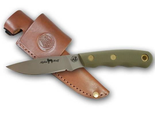 Knives of Alaska Alpha Wolf D2 G10 OD Green Knife - 330FG