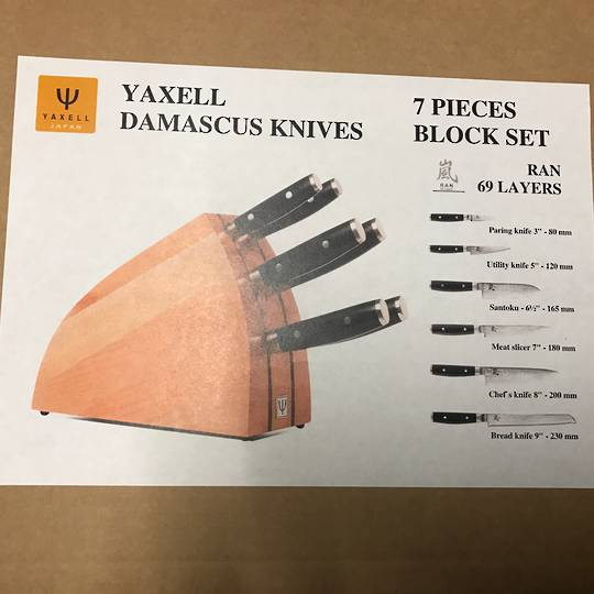 Yaxell RAN Japanese Knife Block Set, 7 Piece