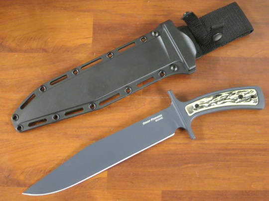 Cold Steel Drop Forged Bowie Blade Knife, Carbon Steel, Faux Stag Handles, Secure-Ex Sheath