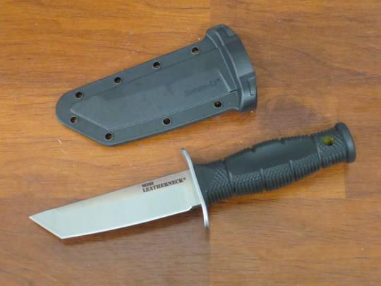 "Cold Steel Mini Leatherneck Fixed Blade Knife 3.5"" Tanto, Kray-Ex Handle, Secure-Ex Sheath"