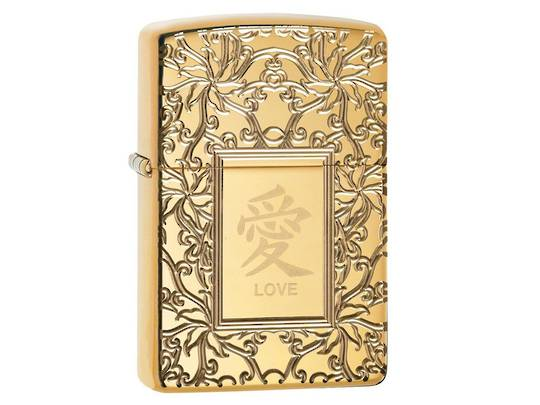 Zippo Chinese symbol of love Lighter, Armor Case