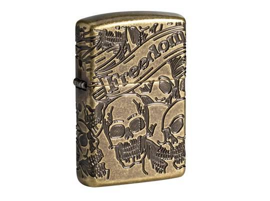 Zippo Armor® Freedom Skull Antique Brass