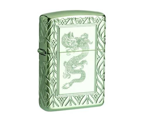 Zippo Armor® High Polish Green Elegant Dragon