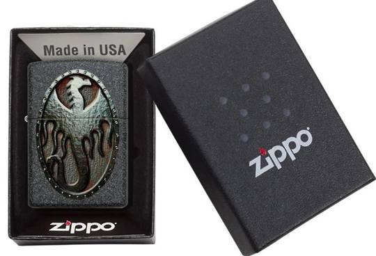 Zippo Metal Dragon Shield Design Lighter