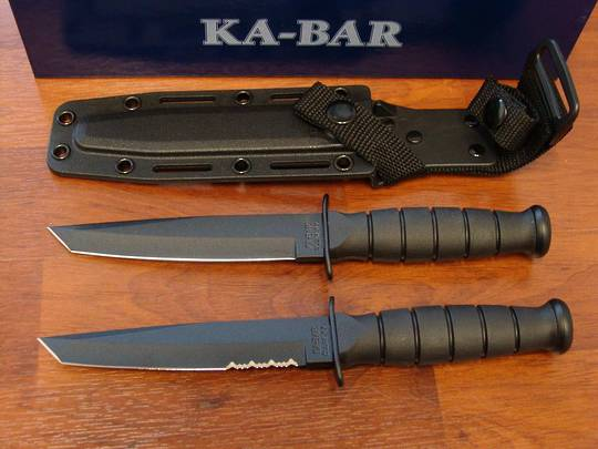 KA-BAR Short Black Tanto Knife w/ Kydex sheath