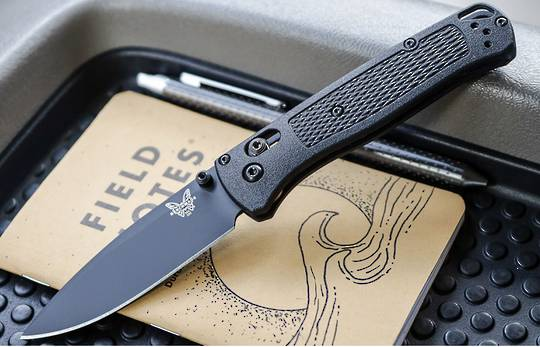 Benchmade Bugout CF-Elite AXIS,  DLC Plain Blade, Graphite Black CF-Elite Handles - 535BK-2