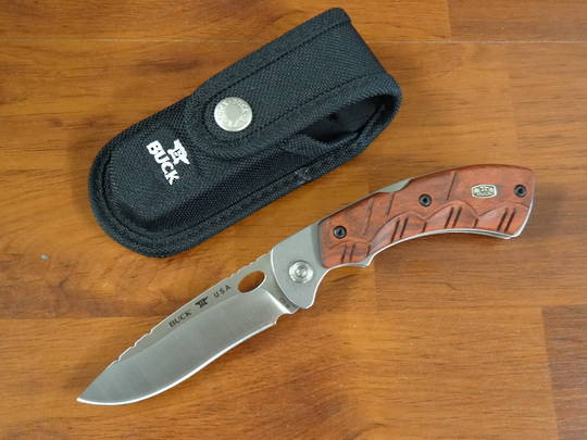Buck Open Season Skinner Folding Knife, Red Wood Handles, Polyester Sheath