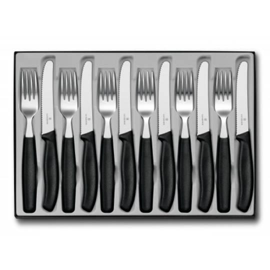 Victorinox Swiss Classic Steak 12 Pc Knife Round Tip and Fork Set