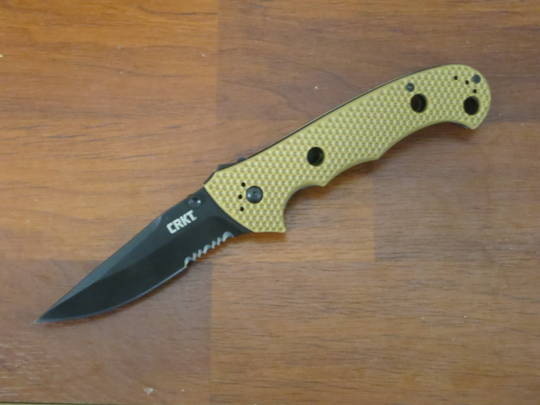 CRKT Hammond Cruiser Clip Point Folding Knife Black Blade Combo edge Tan handle