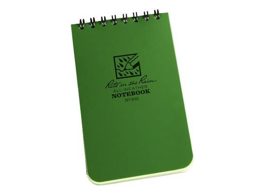 """Rite in the Rain Universal Polydura Tactical Pocket Notebook, 3"""" x 5"""", Green"""