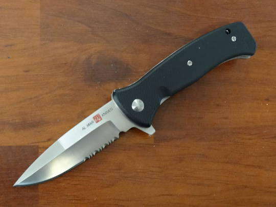 Al Mar Mini SERE 2020 G Assisted Flipper Knife D2 Satin Combo Edge, Black G10 Handles