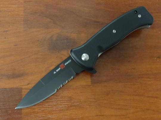 "Al Mar SERE 2020 G Assisted Flipper Knife 3.6"" D2 Satin Combo Blade, Black G10 Handles"