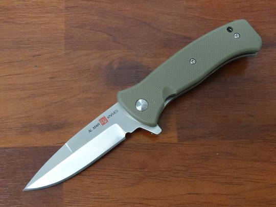 "Al Mar Mini SERE 2020 Assisted Flipper Knife 3"" Satin Talon Drop Point, Coyote Tan FRN Handles"