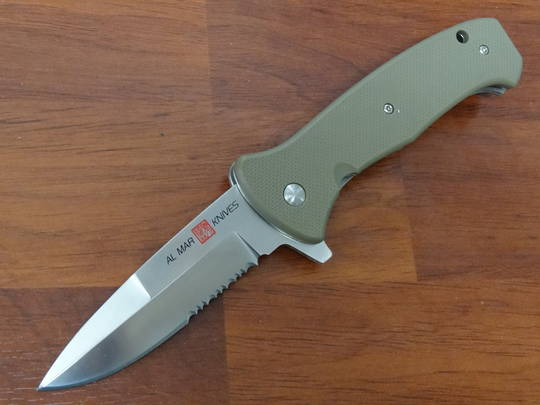 "Al Mar SERE 2020 Assisted Flipper Knife 3.6"" Satin Combo Blade, Coyote Tan FRN Handles"