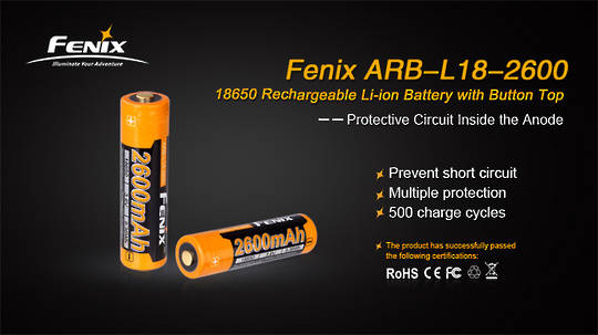 Fenix 2600mAh 18650 Rechargeable Battery