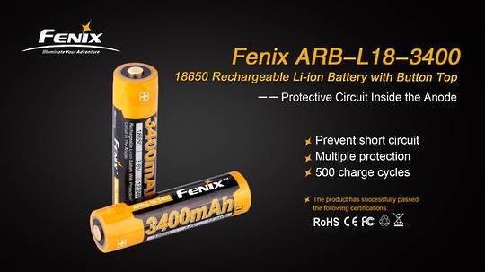 Fenix 3400mAh 18650 Rechargeable Battery