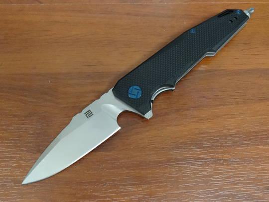 "Artisan Cutlery Predator Flipper Knife 3.75"" D2 Stonewashed Blade, Black G10 Handles"