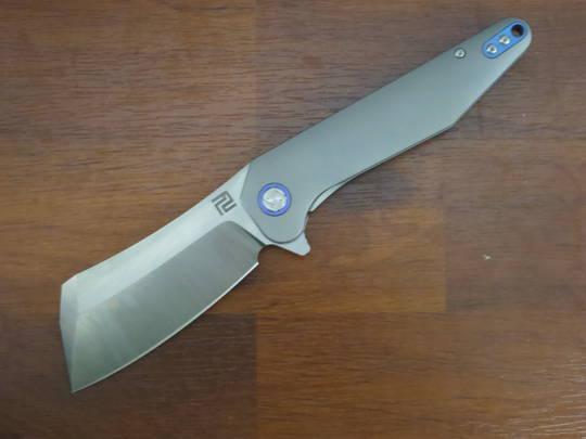 Artisan Cutlery Osprey  Flipper Knife M390 Cleaver-Style Blade, Gray Titanium Handles