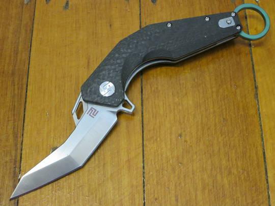 Artisan Cutlery Cobra Flipper Karambit M390 Modified Tanto Blade, Carbon Fiber Handles with Green Finger Ring