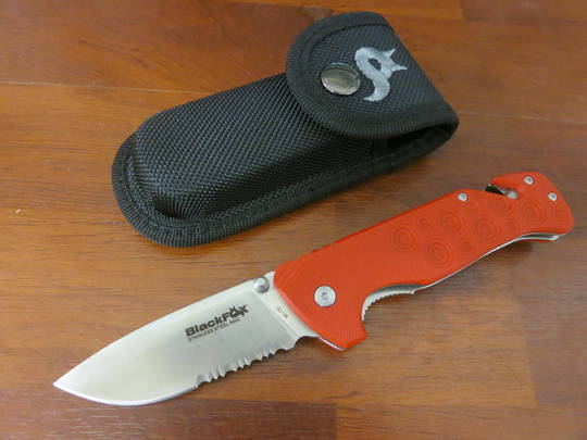 Fox Knives Black Fox Black Action Rescue Folder with Glass Breaker and sheath Red