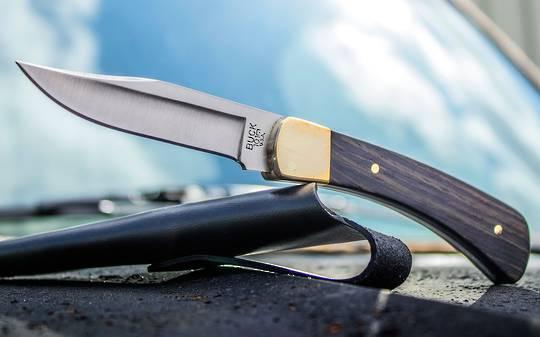 Buck 101 Hunter Fixed  Knife, Macassar Ebony Dymondwood Handles, Leather Sheath