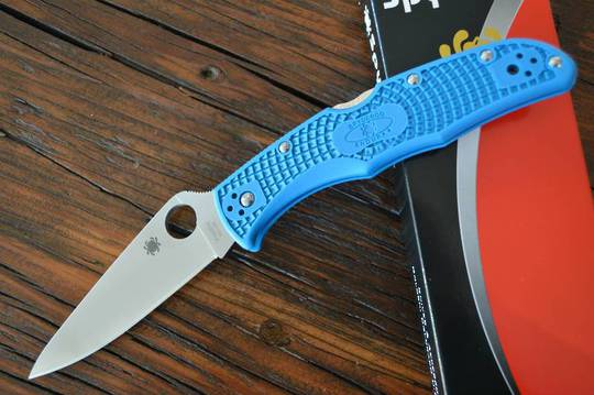 Spyderco Endura 4 Full-Flat Ground Folding Knife-Blue