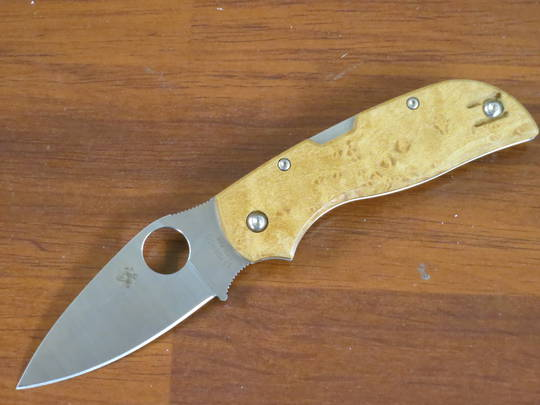 Spyderco Chaparral Folding Knife  CTS-XHP Blade, Birdseye Maple Wood Handles