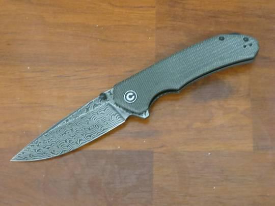 CIVIVI Knives Brazen Flipper Knife Damascus Drop Point Blade, Dark Green Micarta Handles