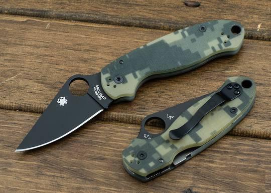 Spyderco Para 3 Folding Knife , Digital Camo G10 Handles (Paramilitary 3)