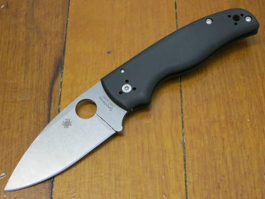 Spyderco Shaman Folding Knife,  Stonewashed Plain Blade, Matte G10 Handles