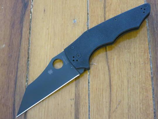 Spyderco YoJumbo Blackout Folding Knife,  Black DLC Blade, Coarse Black G10 Handles