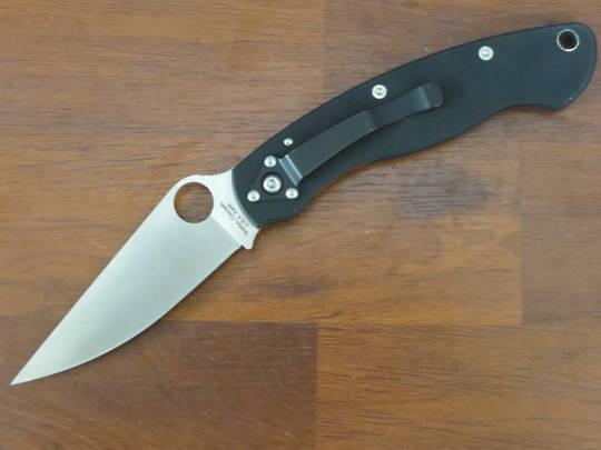 Spyderco Military Left Handed Folding Knife S30V Blade, Black G10 Handles
