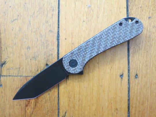 CIVIVI Knives Elementum Tanto Flipper, D2 Black Stonewashed Blade, Brown Matrix Micarta Handles