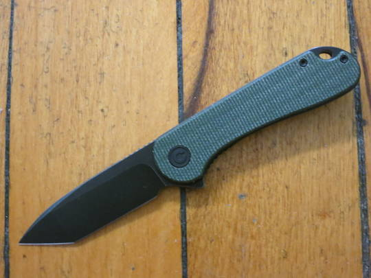 CIVIVI Knives Elementum Tanto Flipper,  D2 Black Stonewashed Blade, Green Micarta Handles