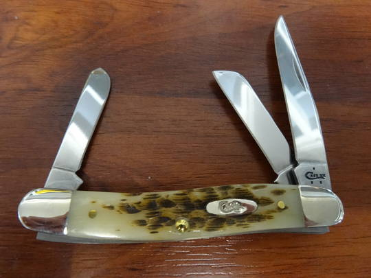 CASE CUTLERY Amber Bone Medium Stockman Folding Knife - 042 no box
