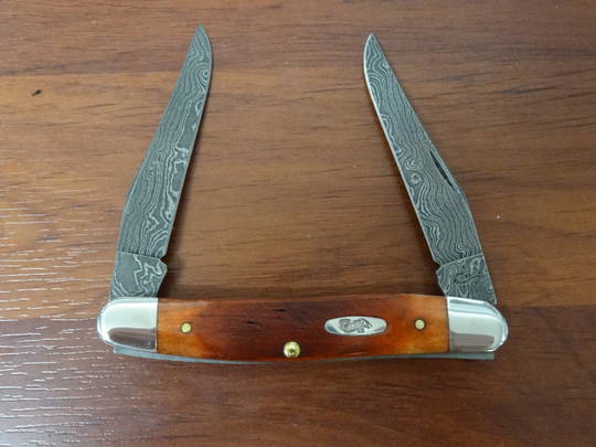Case Cutlery Sawcut Chestnut Bone Carbon Damascus Steel Muskrat Pocket Knife - 31305 no box