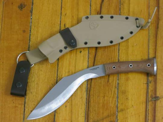 Condor K-TACT Kukri Knife Fixed Carbon Steel, Desert Tan Micarta Handles, Kydex Sheath