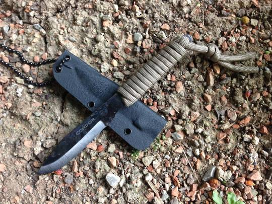 Condor Bushnecker Knife Carbon Steel Blade, Paracord Wrapped Handle, Kydex Sheath