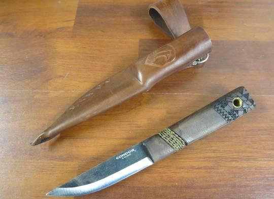 Condor Mini Indigenous Puukko Knife, Walnut Handles, Welted Leather Sheath