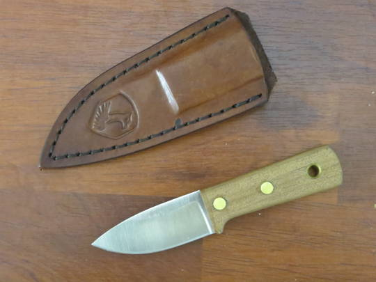 Condor Compact Kephart Fixed Blade Knife, Walnut Wood Handle, Welted Leather Sheath