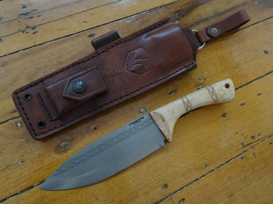 Condor Pictus Fixed Blade Knife 1095 Carbon Steel, American Hickory Handle, Welted Leather Sheath