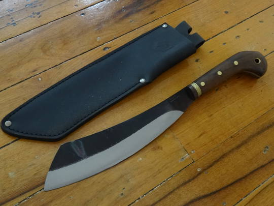 "Condor Mini Duku Parang Machete 10.5"" Carbon Steel Blade, Hardwood Handles, Leather Sheath"