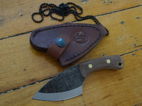 Condor Pangui Fixed Blade Knife 1095 Carbon Steel, Walnut Wood Handles, Welted Leather Sheath