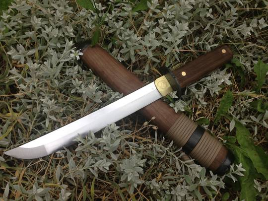 "Condor Kondoru Tanto Sword 10"" Carbon Steel Blade, Walnut Handles and Sheath"