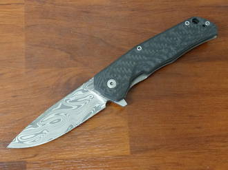 LionSteel TRE Three Rapid Exchange Folder Thor Damasteel , Carbon Fiber/Titanium Handles - TRE DT CF