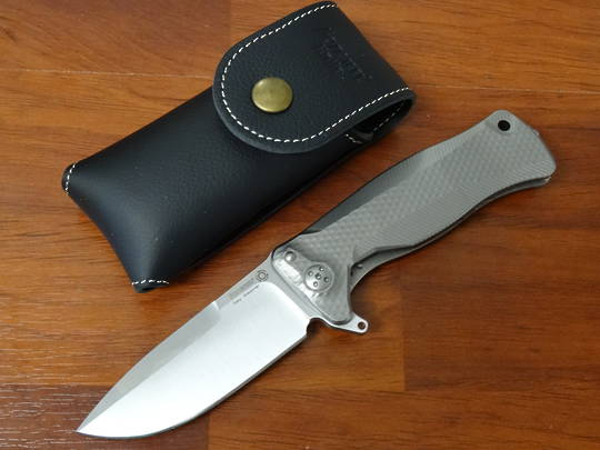 LionSteel Integral Flipper Sliepner Drop Point , Gray Titanium Handles - SR11 G